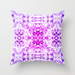 Floral Print - Magenta & Purple Throw Pillow