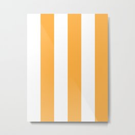 Wide Vertical Stripes - White and Pastel Orange Metal Print