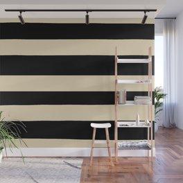 Valspar America Wood Yellow - Homey Cream - Glow Home Hand Drawn Fat Horizontal Stripes on Black Wall Mural