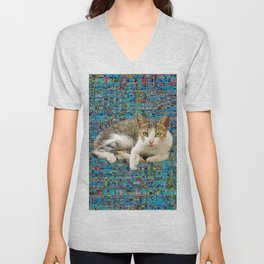 Cute cat on abstract background Unisex V-Neck
