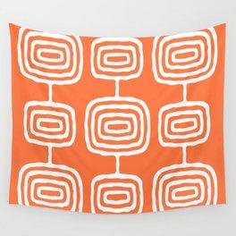 Mid Century Modern Atomic Rings Pattern 771 Orange Wall Tapestry