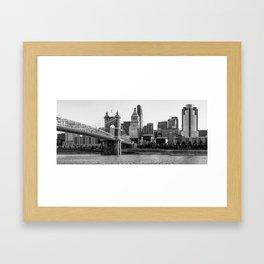 The Queen City Panoramic - Cincinnati Skyline - Black and White Framed Art Print