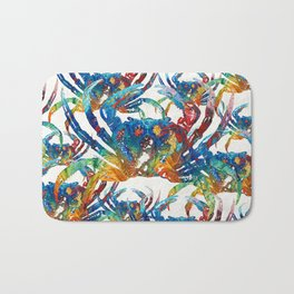 Bright Colorful Crab Collage Art by Sharon Cummings Bath Mat