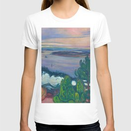 Mountains and Islands - Smoke from a Train Early Morning Sunrise landscape painting by Edvard Munch T-shirt