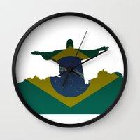 brazil Wall Clocks featuring Brazil by Jimbob1979