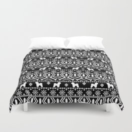 Bichon Frise christmas fair isle black and white dog silhouette minimal winter sweater holiday Duvet Cover