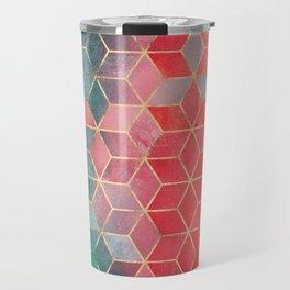 Rose And Turquoise Cubes Travel Mug