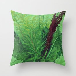 Greenery, Summer Herbs, Floral Art, Pastel Painting Throw Pillow