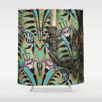 "haunted mansion Shower Curtains featuring Disneyland Haunted Mansion inspired ""Wall-To-Wall Creeps No.1""  by ArtisticAtrocities"