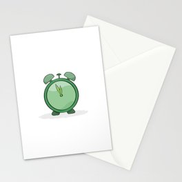 green alarm clock Stationery Cards