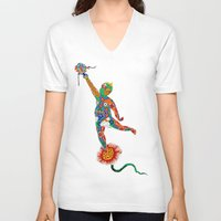 korean V-neck T-shirts featuring Korean Buddhist Temple Boy by Andrei Verner