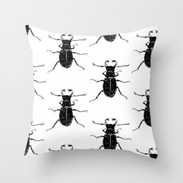 MINIMAL + MONOCHROME BEETLE PATTERN Throw Pillow