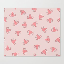 Crazy Happy Uterus in Pink, Large Canvas Print