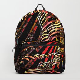 7068-KMA Abstract Feminine Spirit Zebra Striped Woman Powerful Colorful Fine Art Nude Backpack