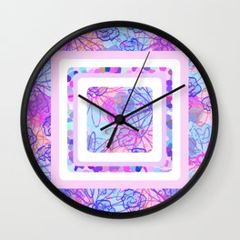 Boxed Flowers Wall Clock