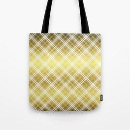 Royal Gold Tartan Plaid Check Tote Bag