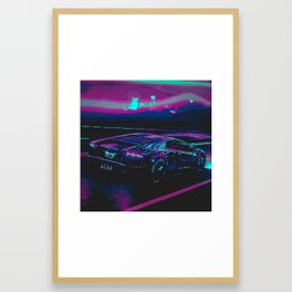 Retro Pixel Art Vaporwave Car Framed Art Print