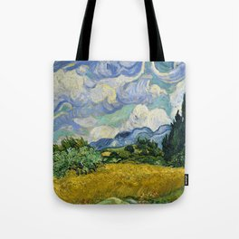 Classical Masterpiece 'Wheat Field with Cypresses' by Vincent van Gogh Tote Bag