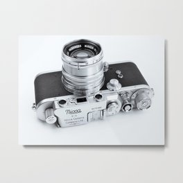 1950s Nicca 3-S 35mm Film Camera in Black & White Metal Print