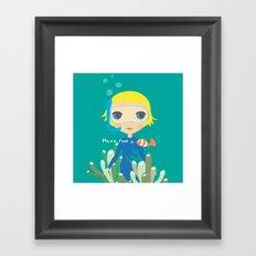 Diver girl Framed Art Print