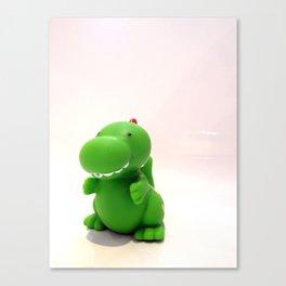 Happy Green Dinosaur Canvas Print