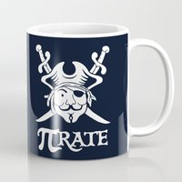 pi Mugs featuring Pi-Rate by Alby Letoy