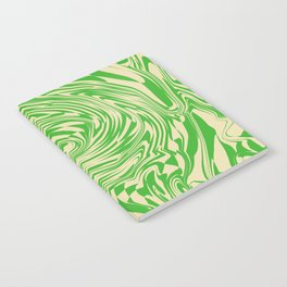 Psychedelic Warped Marble Wavy Checkerboard in Green and Cream Notebook