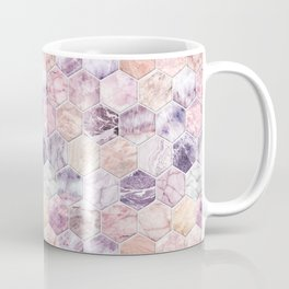 Rose Quartz and Amethyst Stone and Marble Hexagon Tiles Coffee Mug