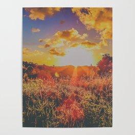 Colorful sunbeams at dusk Poster