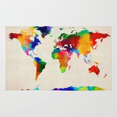 Map of the World Map Painting Rug