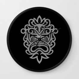 Stylish Gray and Black Mayan Mask Wall Clock