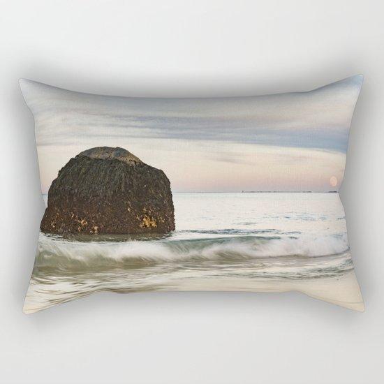 Pastel Moon rise at the beach Rectangular Pillow