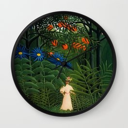 'Woman walking amid Tropical Blue Cornflowers in an exotic forest' by Henry Rousseau Wall Clock