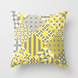 Quilt patterns Illuminating Yellow, Ultimate Gray Throw Pillow