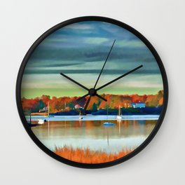 Colors of Autumn By the Water Wall Clock