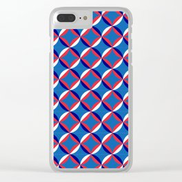 Blue Nautical Abstract Pattern Clear iPhone Case