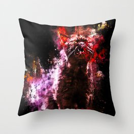 british shorthair cat ready to attack splatter watercolor Throw Pillow