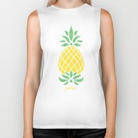 pineapple Biker Tanks featuring Pineapple by Jacqueline Maldonado