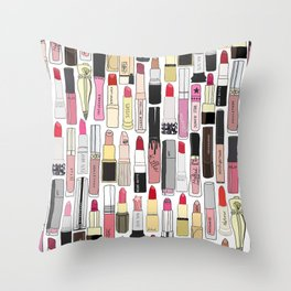 Lipsticks Makeup Collection Illustration Throw Pillow