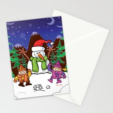 Christmas Snowman and Children Stationery Cards