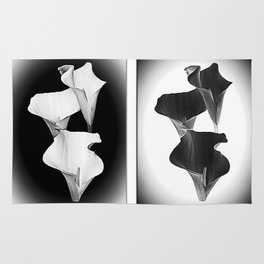 Calla Lillies. Black + White. Rug