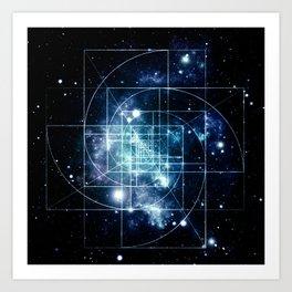 Galaxy Sacred Geometry: Golden Mean Art Print