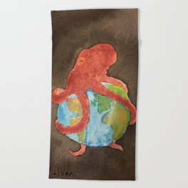 Octopus and Earth Beach Towel