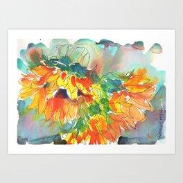 Bowing Suns Art Print
