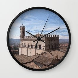 Beautiful view in the medieval center of Gubbio Wall Clock