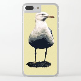 A seagull with its wings closed Clear iPhone Case