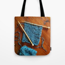 knitting photo, denim, denim photo, blue, wood, knitting, knit, brown, Tote Bag
