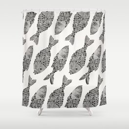 Indonesian Fish Duo – Black Palette Shower Curtain