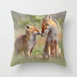 Fox Felicity - Mother and fox kit showing love and affection Throw Pillow