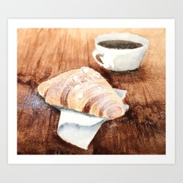 Croissant and Coffee Art Print